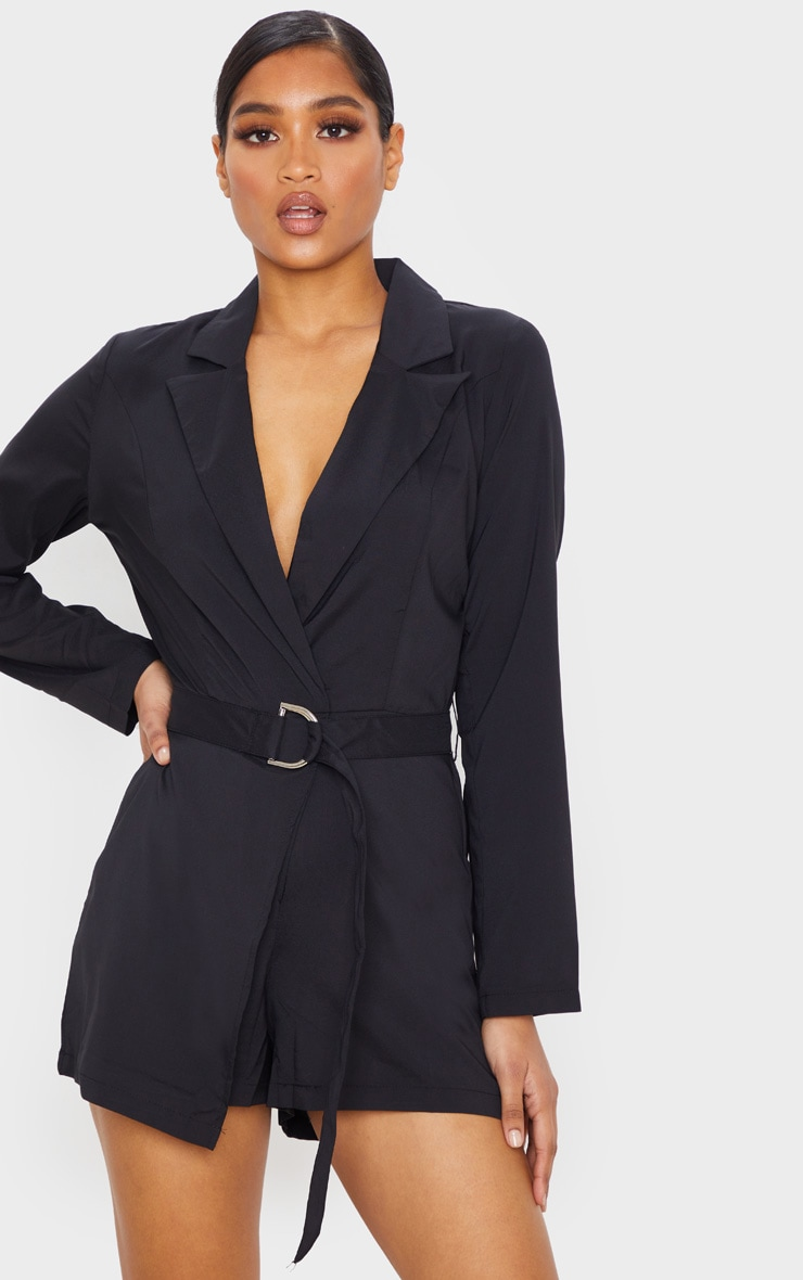 Black Wrap Over Blazer Playsuit 2
