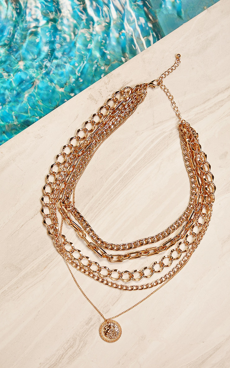 Gold Five Assorted Chain Layering Necklace 1