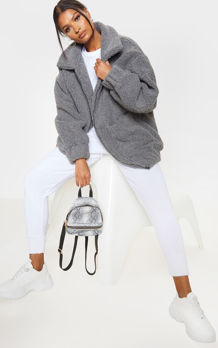Grey Oversized Borg Pocket Front Coat 5