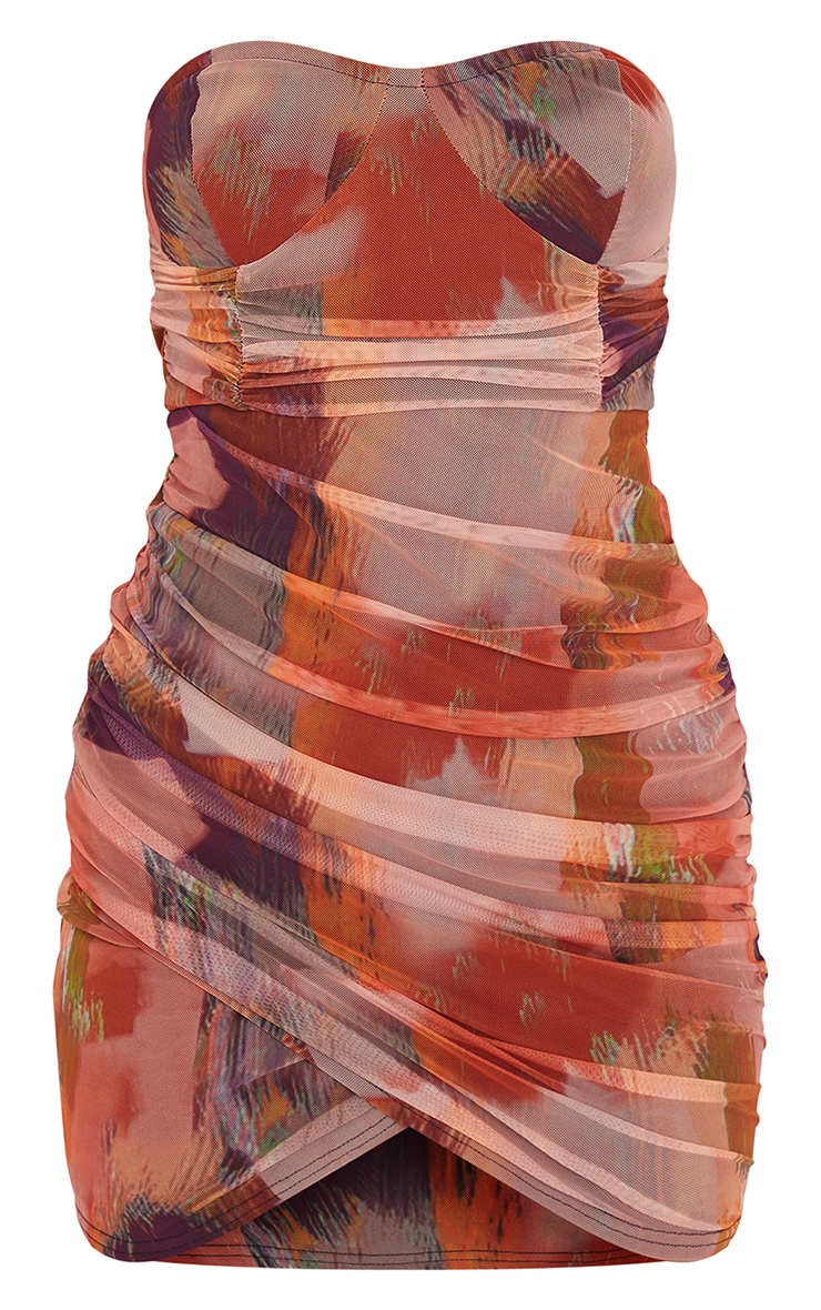 Orange Abstract Print Bandeau Ruched Bodycon Dress 5