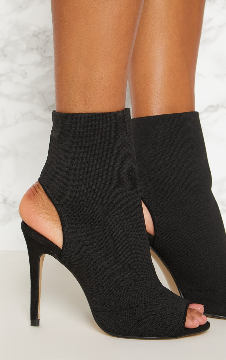 Black Knit Peeptoe Shoe Boot 5