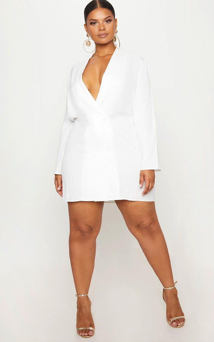 Plus White Oversized Blazer Dress 4