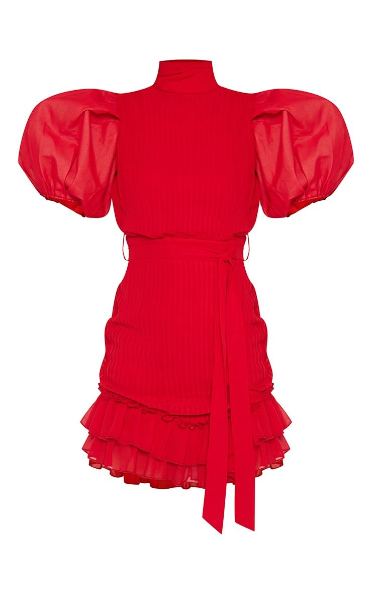 Red Pleated Chiffon Puff Sleeve Frill Bodycon Dress 5