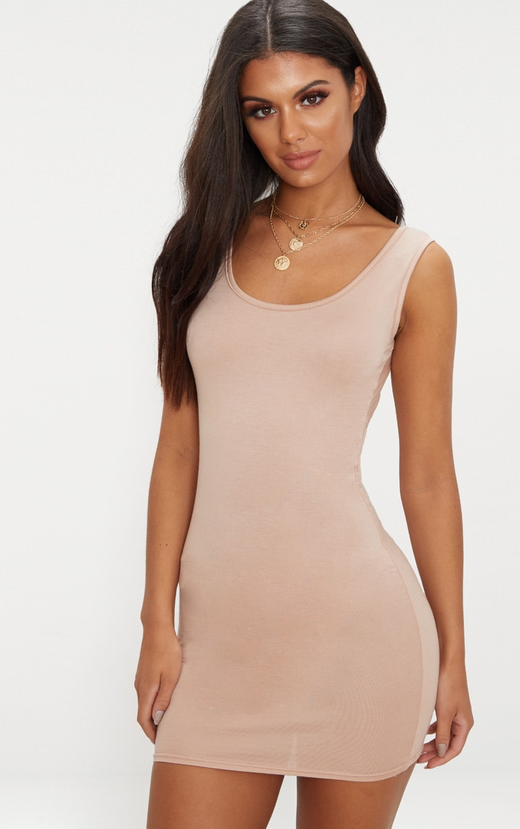Basic Nude Scoop Neck Bodycon Dress 1