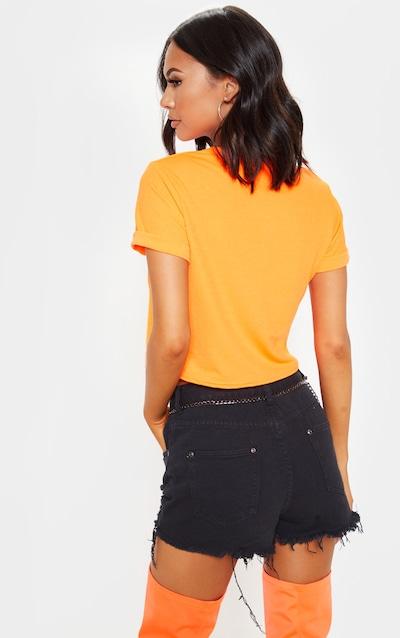 Basic Neon Orange Roll Sleeve Crop T-Shirt