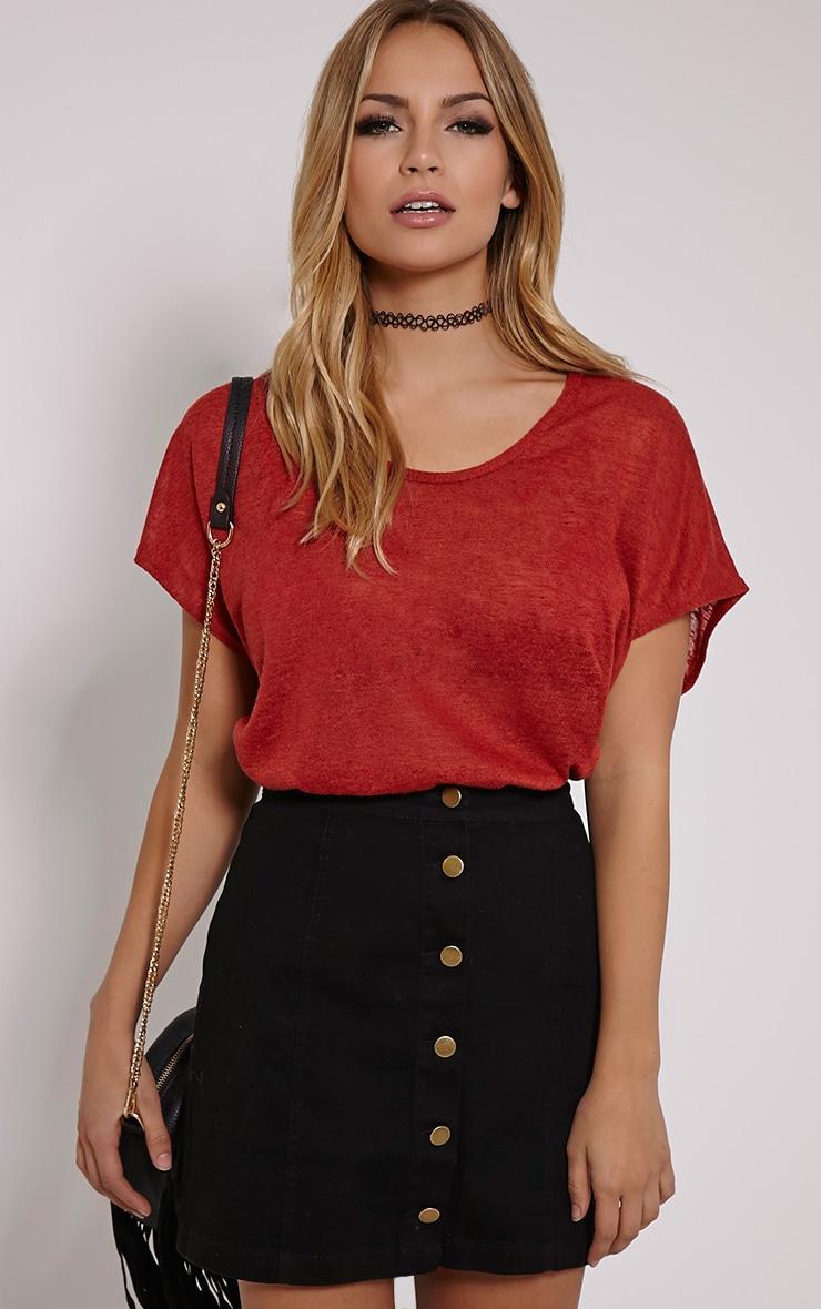 Latilda Rust Woven Slub T-Shirt 1