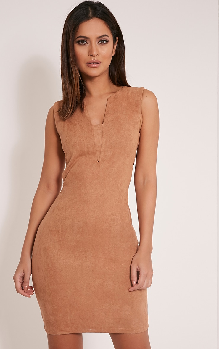 Amara Camel Suede Tab Side Dress 1