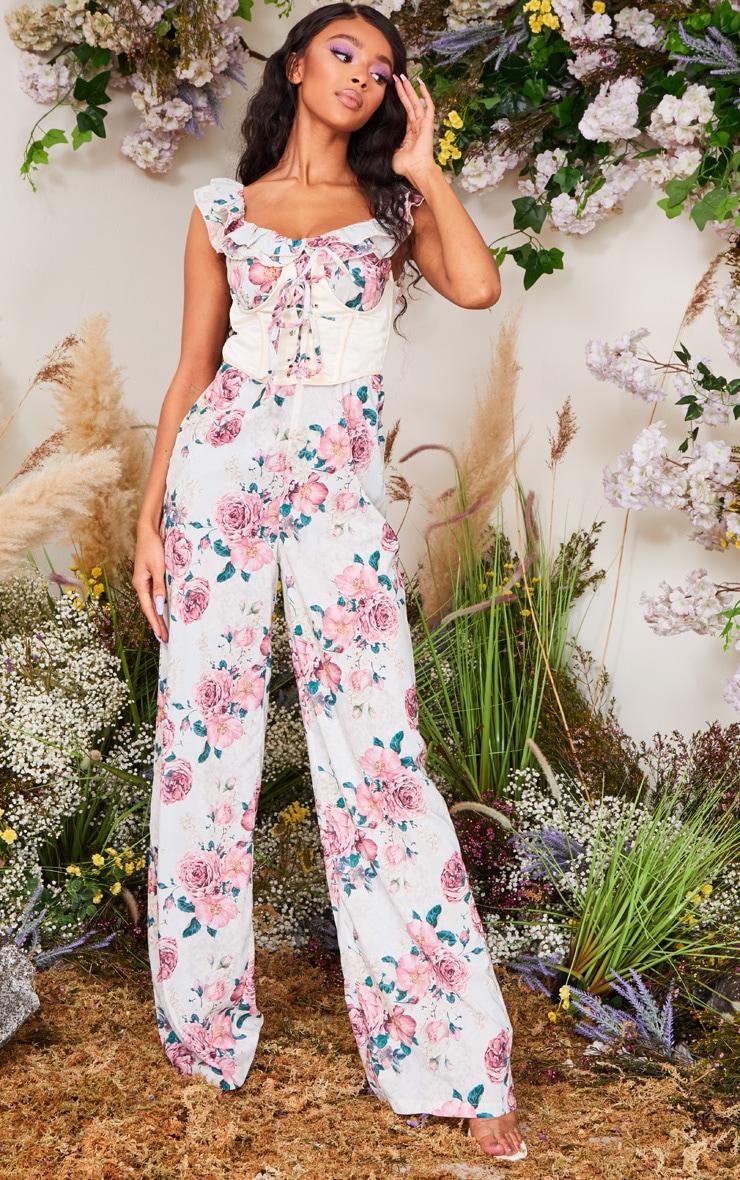 Pink Floral Print Corset Frill Bardot Jumpsuit