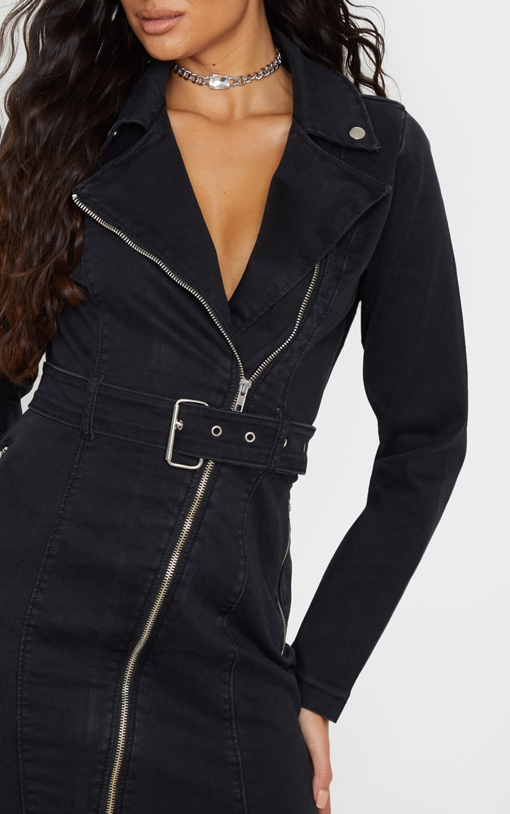 Black Belted Zip Detail Denim Dress 5