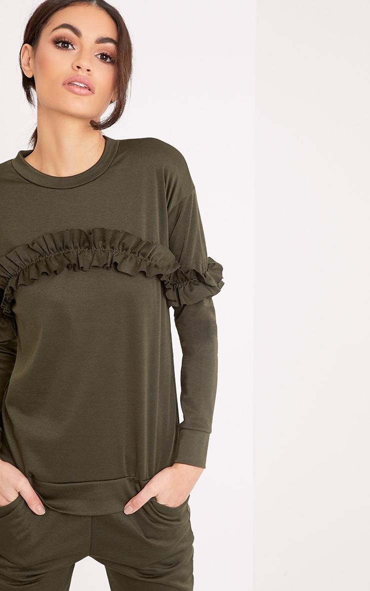 Anabell Khaki Frill Sweater 1