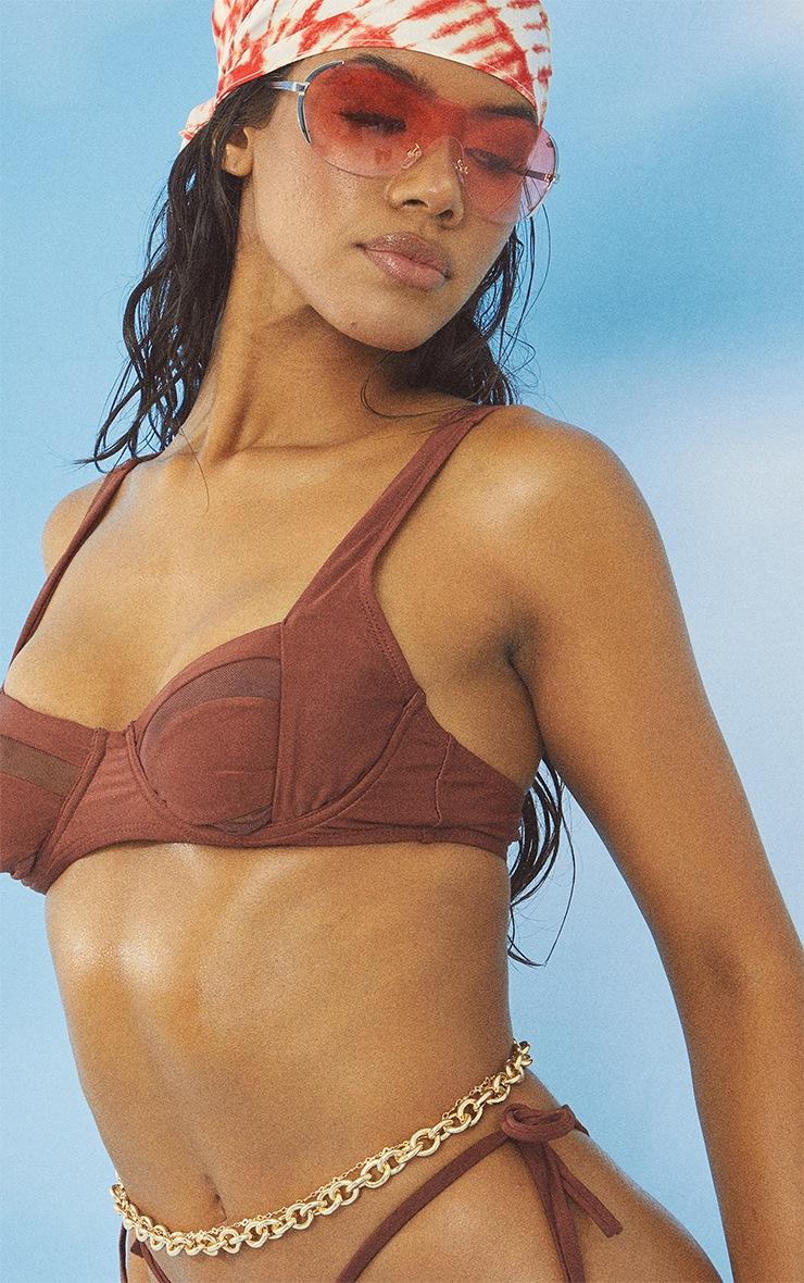 Brown Mesh Panel Underwired Bikini Top 4