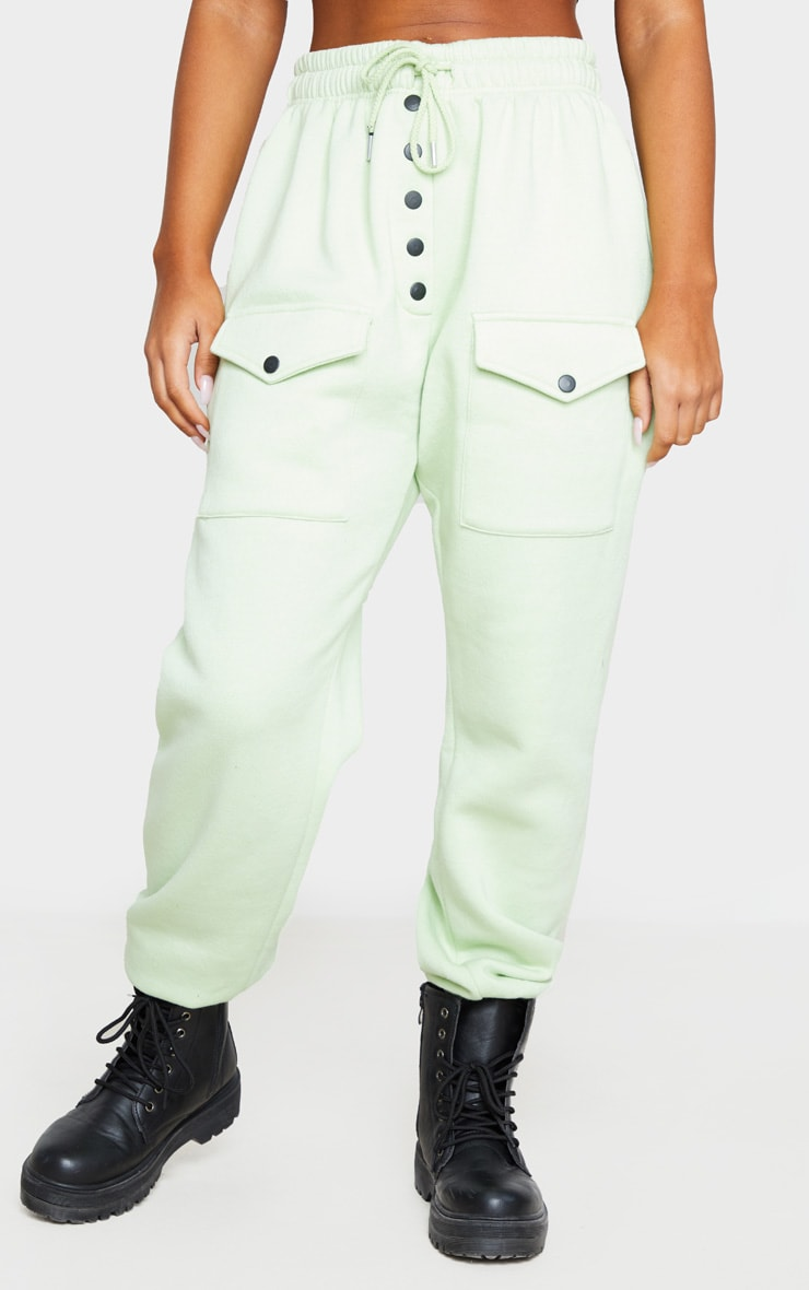 Sage Button Front Pocket Joggers 2