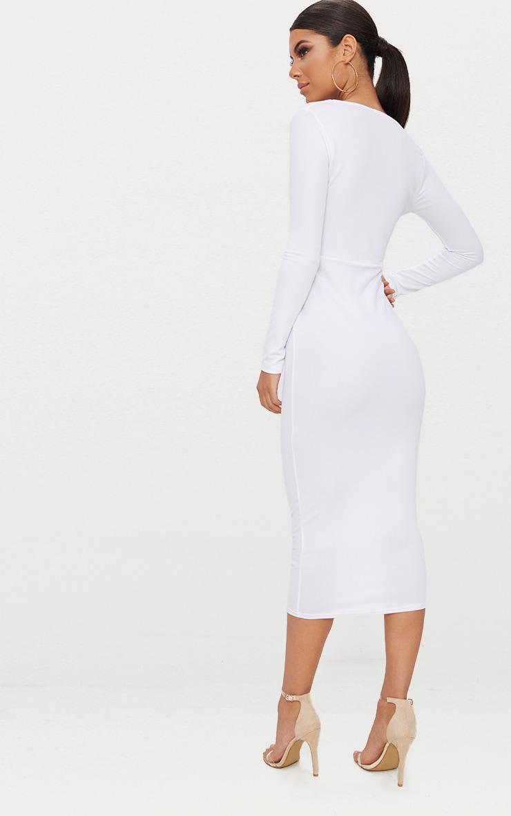 White Square Neck Long Sleeve Midaxi Dress 2