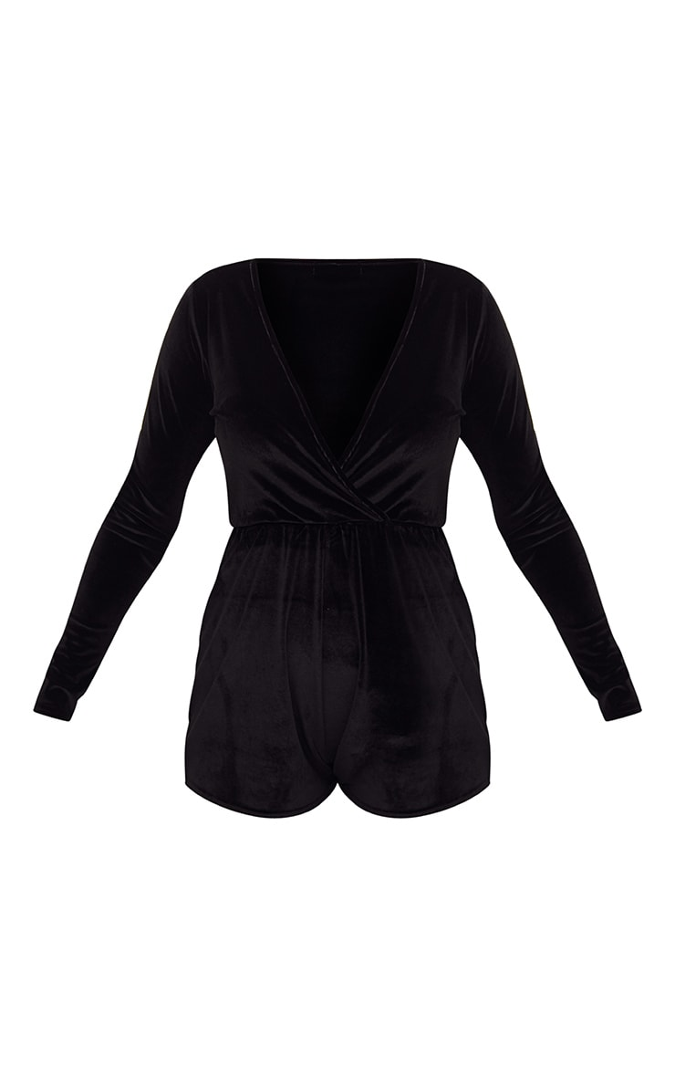 Black Velvet Wrap Playsuit 3
