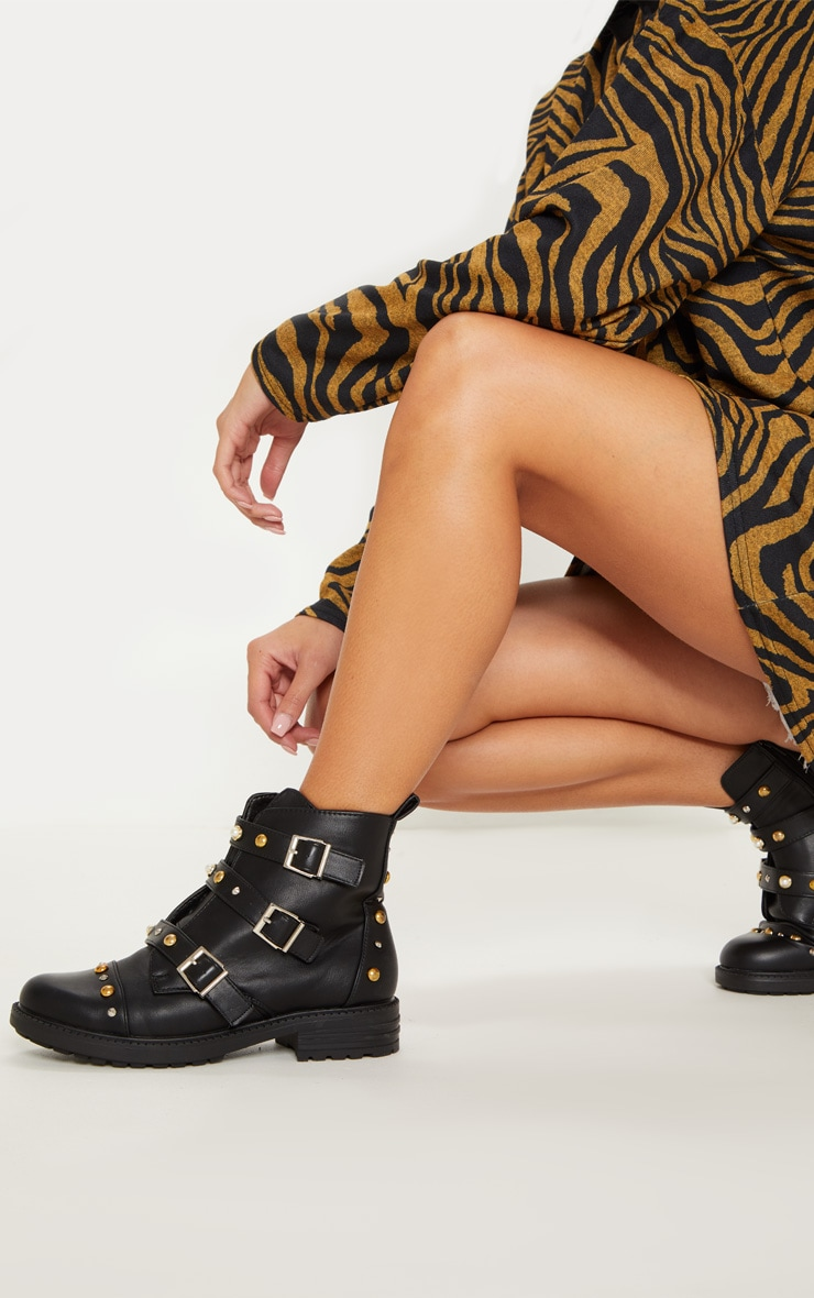 Black Stud Pearl Buckle Biker Boot 1