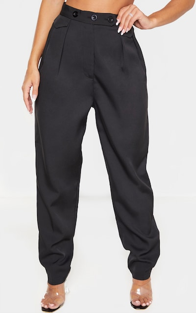 Black Tapered Button Front Trouser
