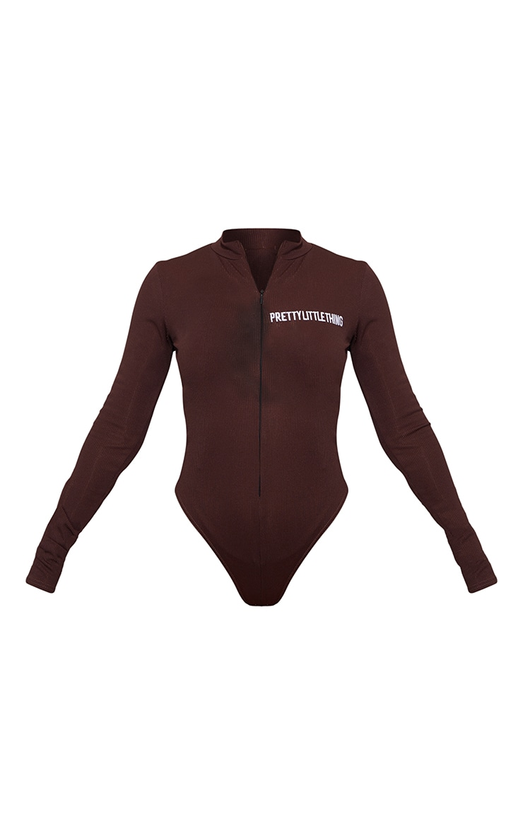PRETTYLITTLETHING Chocolate Embroidered Rib Zip Up Long Sleeve Bodysuit 5