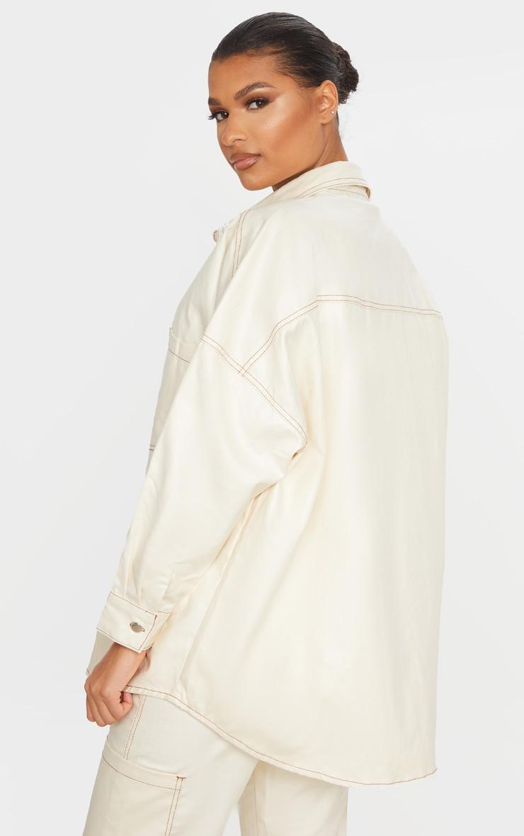 Stone PU Contrast Stitch Denim Shirt 2