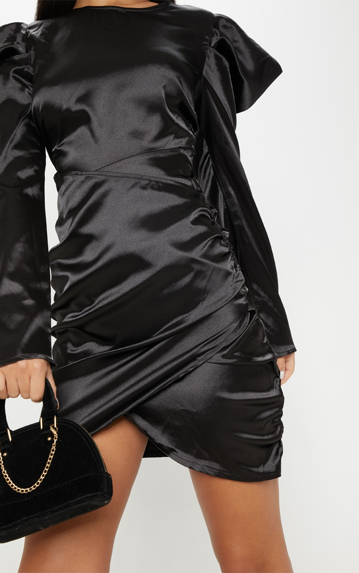 Black Satin Puff Sleeve Ruched Bodycon Dress 4