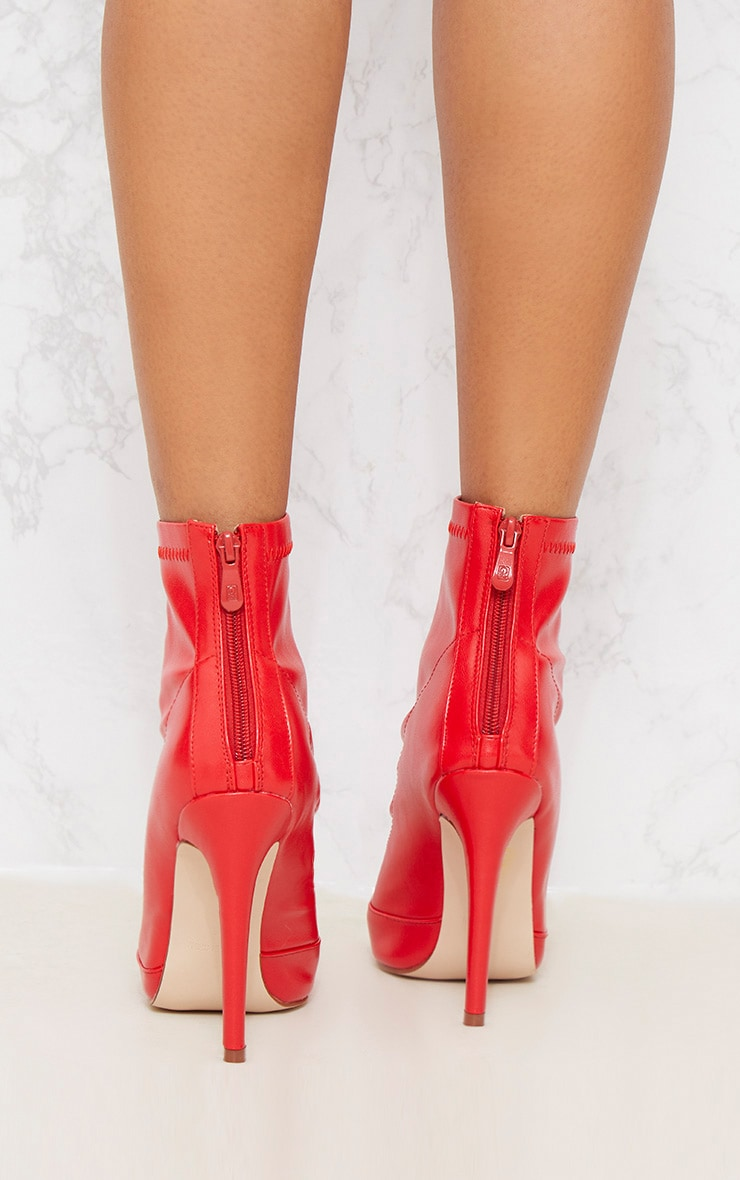 Red PU Ankle Sock Boot 5