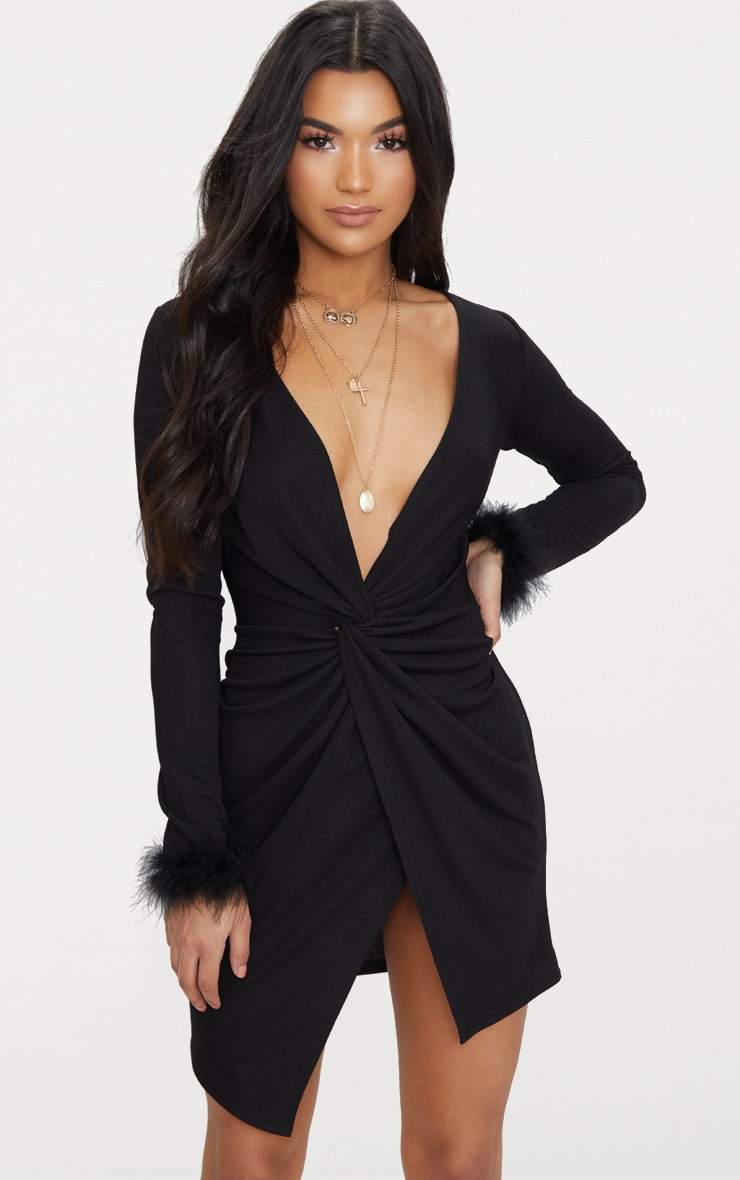Black Long Sleeve Feather Cuff Wrap Bodycon Dress 1