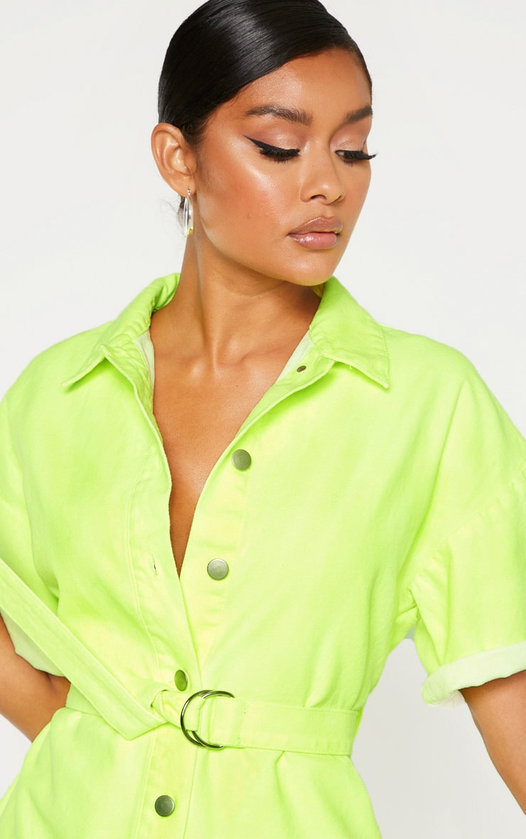 Neon Lime Romper With Pencil Pockets  5