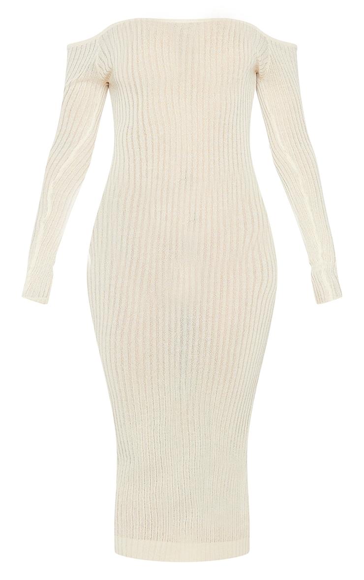 Stone Sheer Knit Bardot Midi Dress 5