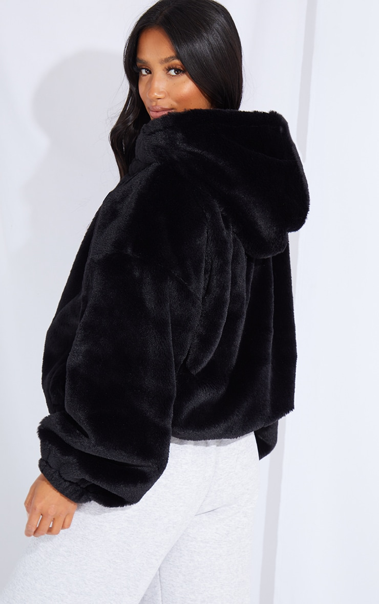 Petite Black Faux Fur Hooded Balloon Sleeve Jacket 2
