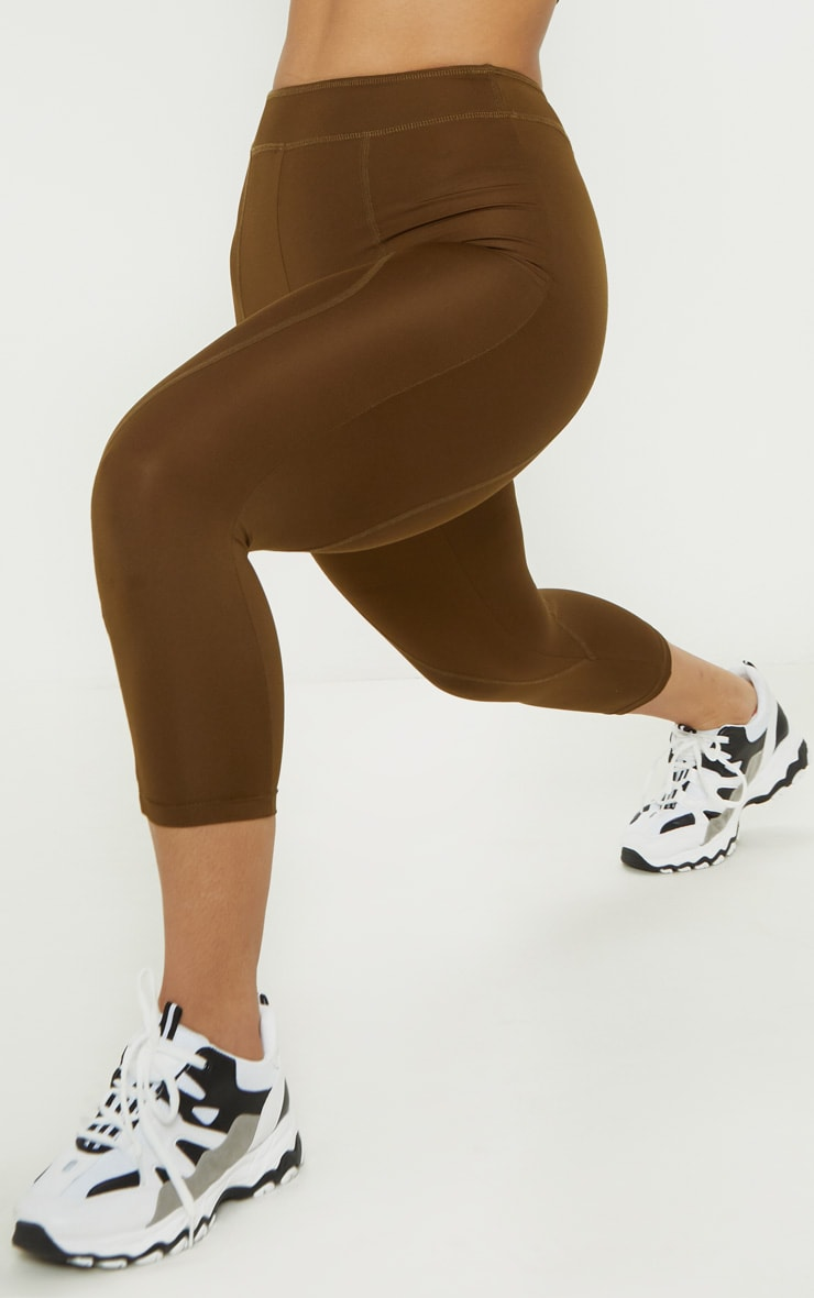 Khaki Stitch Cropped Gym Legging 5