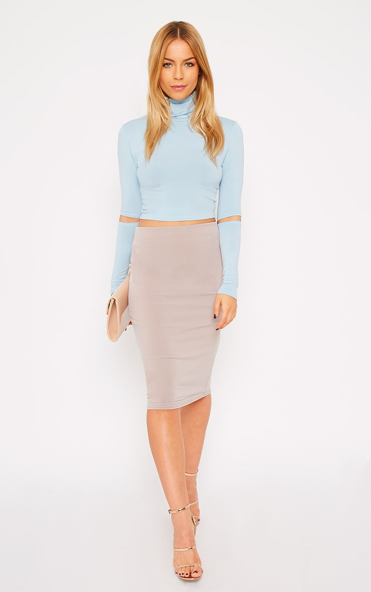 Clara Powder Blue Split Sleeve Roll Neck Crop Top 3