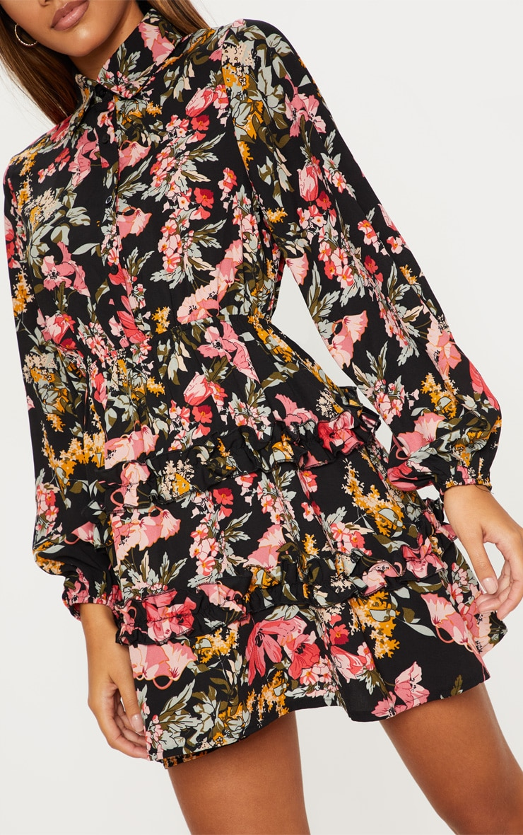 Black Floral Printed Frill Skater Shirt Dress 5