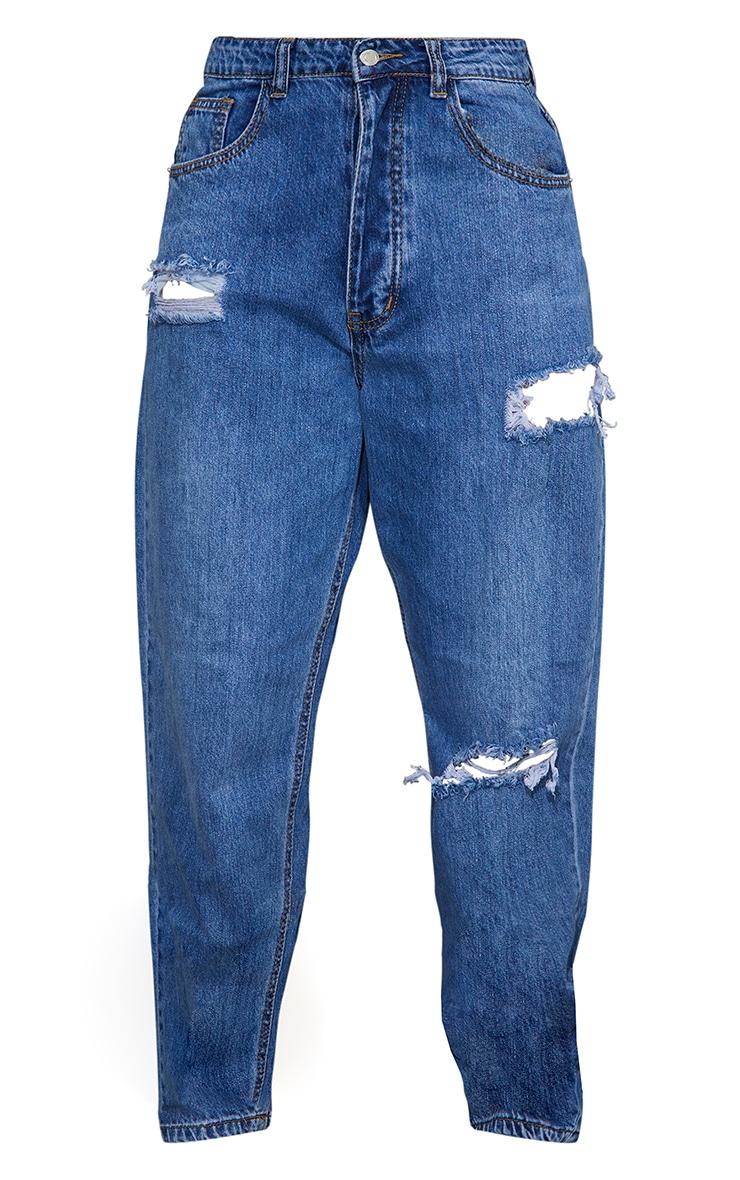 PRETTYLITTLETHING Mid Blue Wash Open Knee Boyfriend Jeans 5
