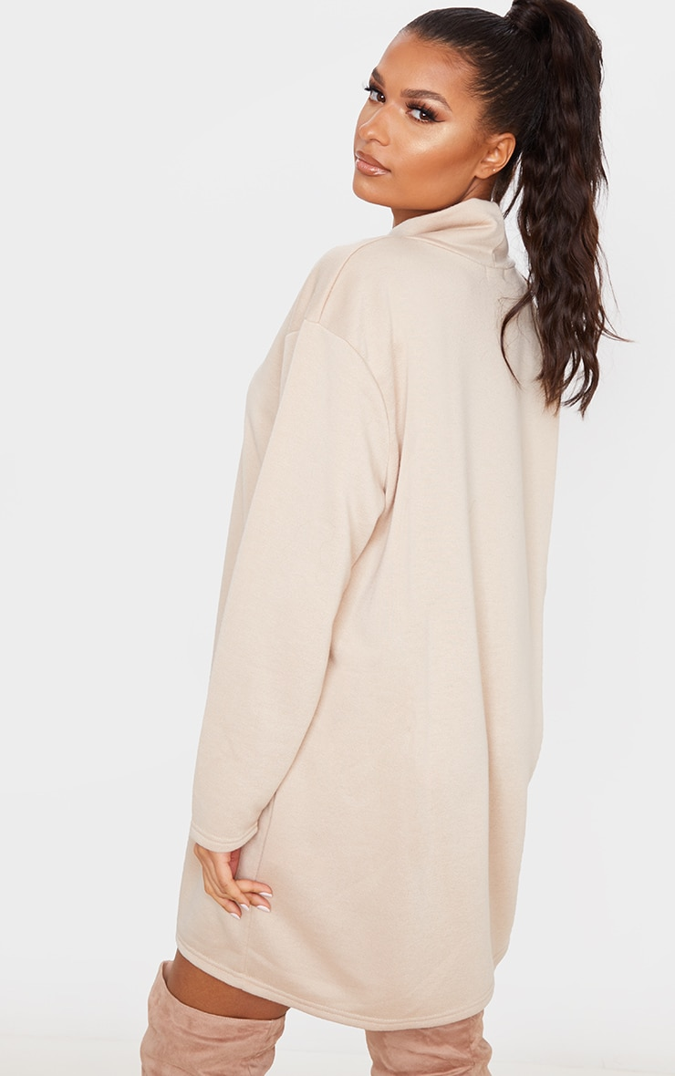 Camel Roll Neck Long Sleeve Oversized Sweater Dress 2