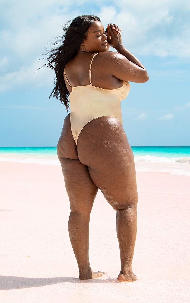 Plus Rose Gold High Shine Ruched Cupped Swimsuit 3