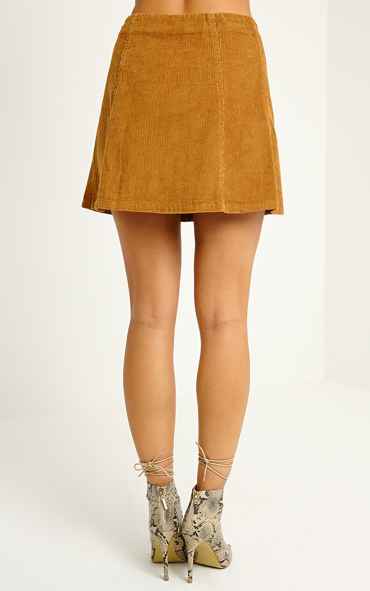 Turia Tan Cord Button Front Skirt 4