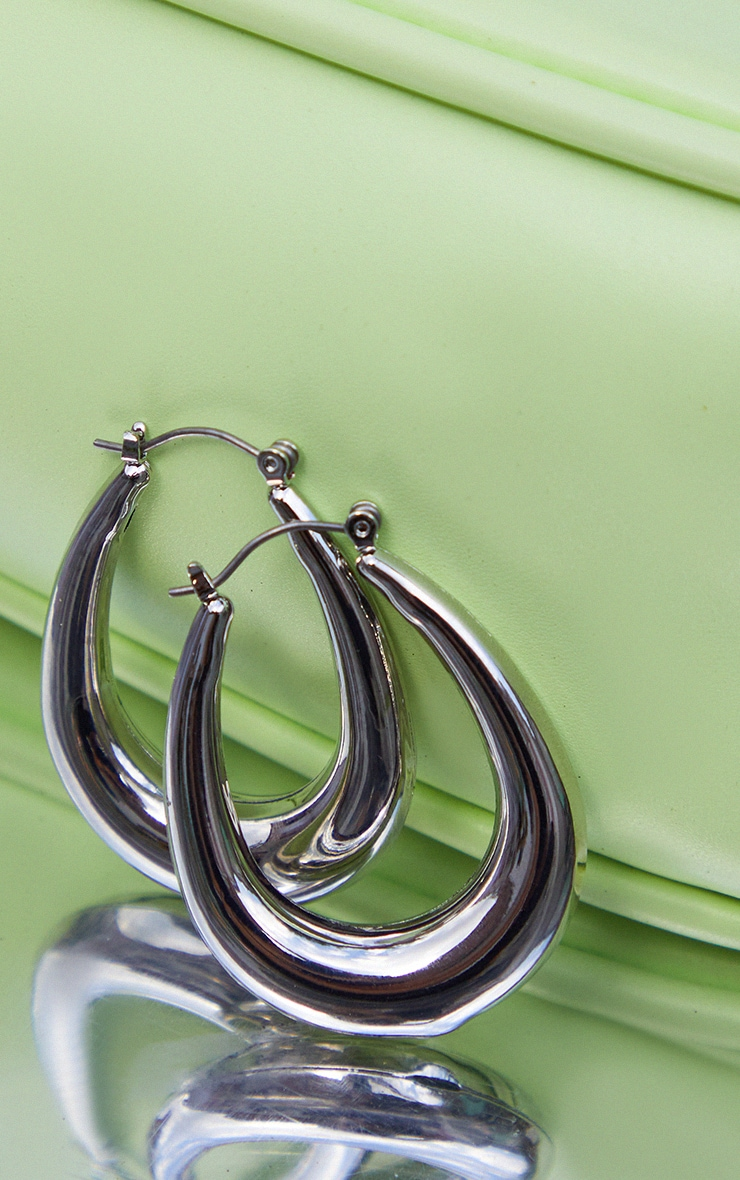 Silver Rounded Oval Hoop Earrings 3