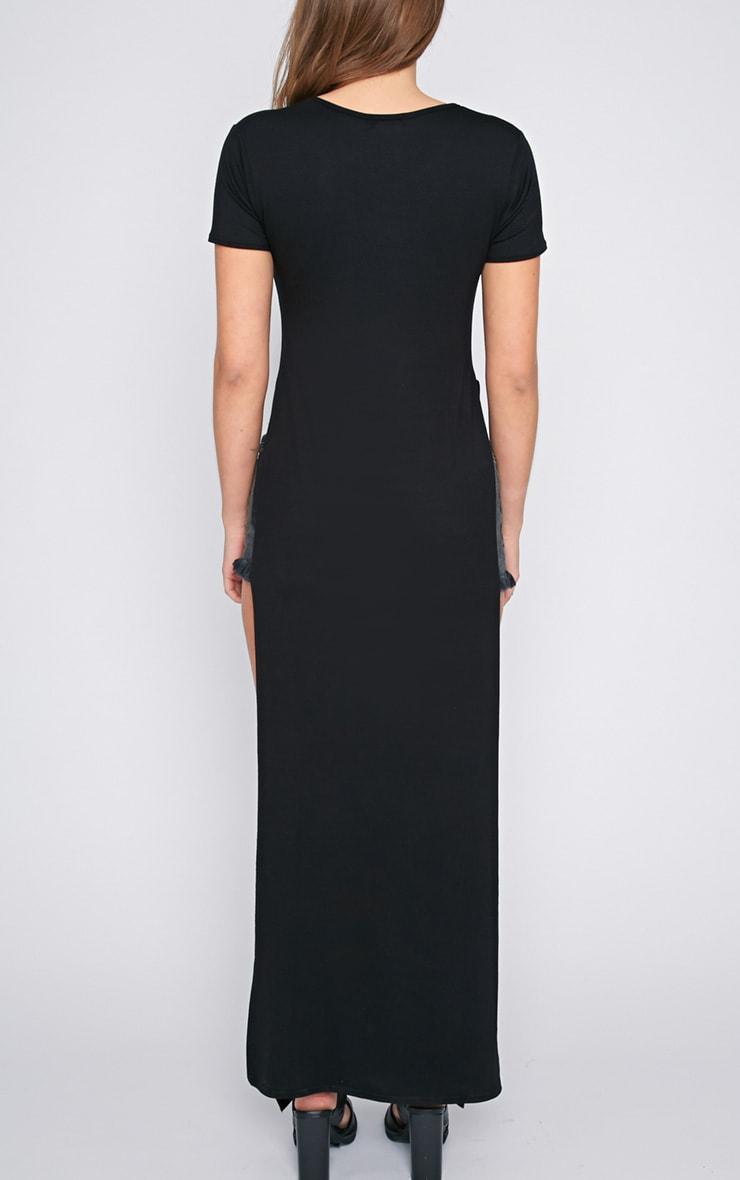 Allie Black Extreme Split Tshirt Dress 2