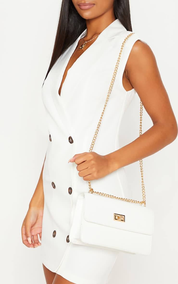 White Croc Chain Cross Body Bag