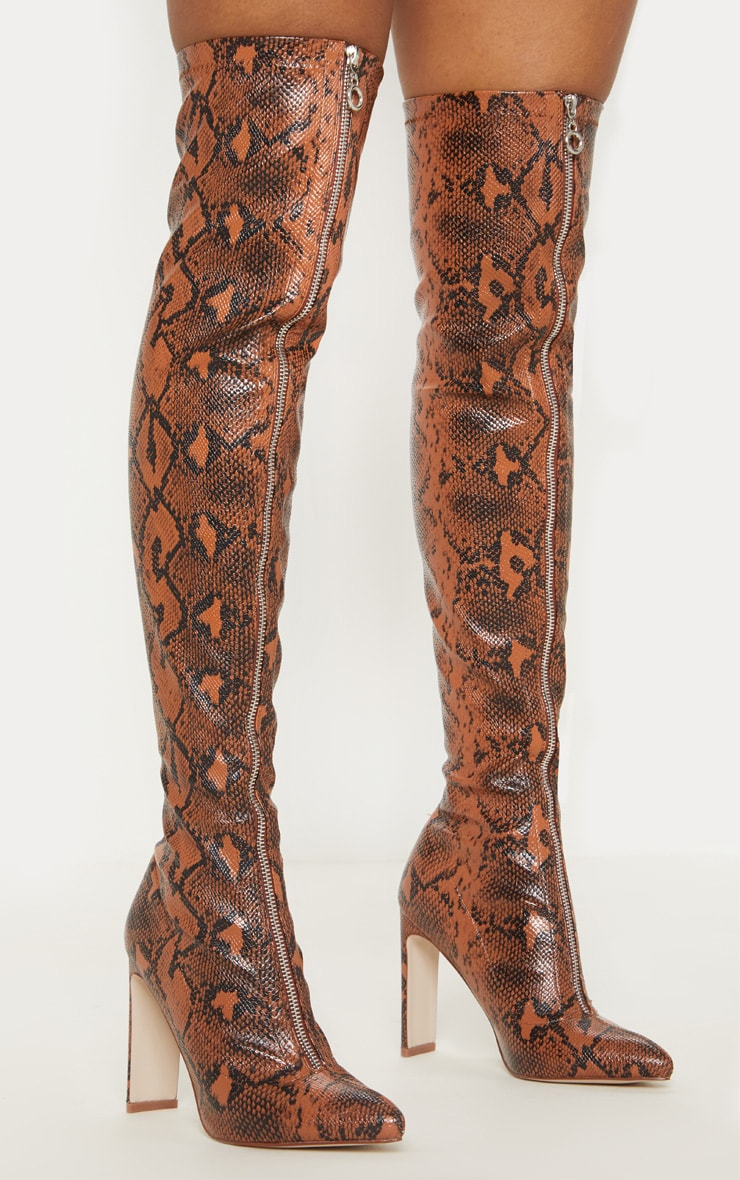Brown Snake Zip Front Flat Heel Knee Boot 3