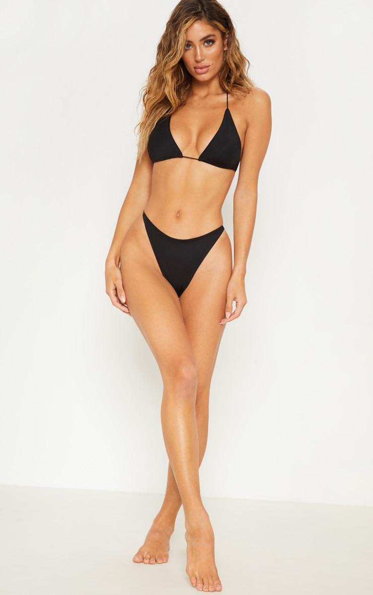 Black Minimal Elastic Triangle Bikini Top 4
