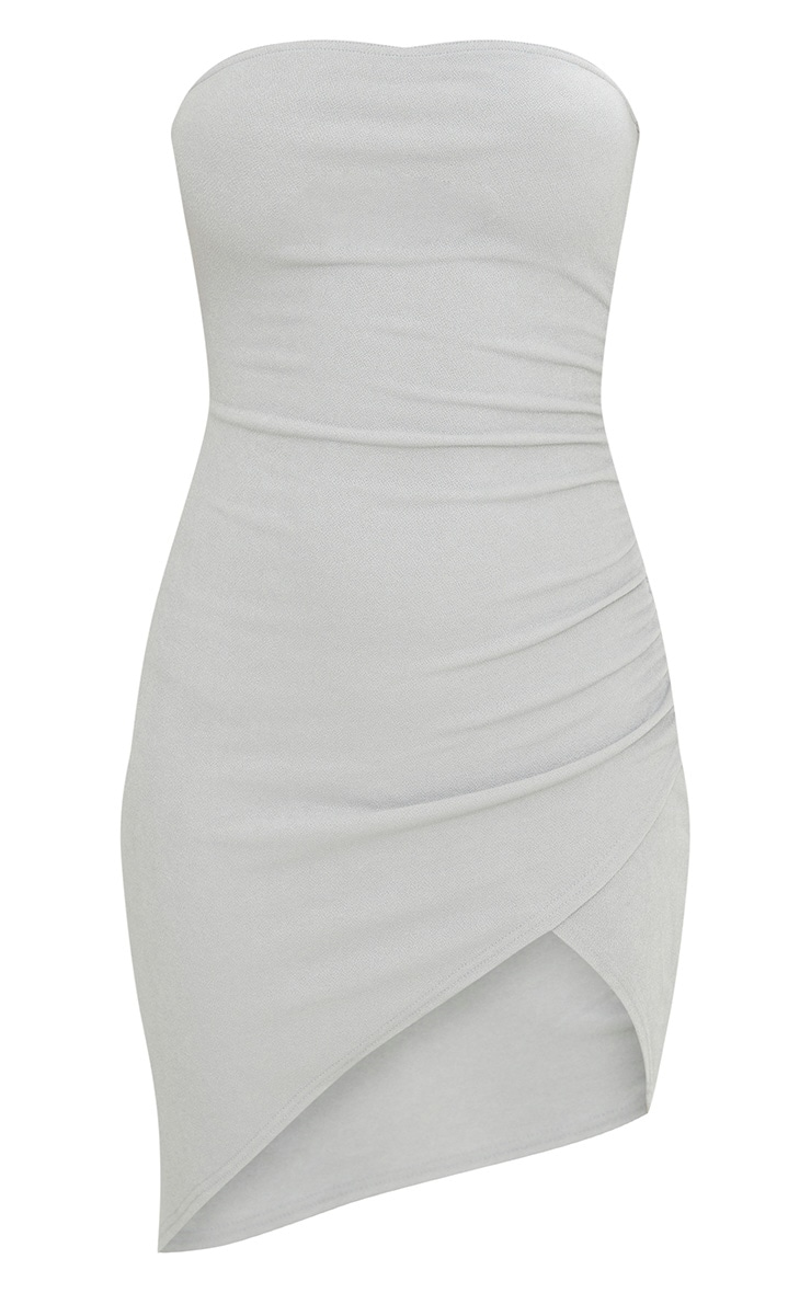 Ice Grey Bandeau Wrap Ruched Front Bodycon Dress 3