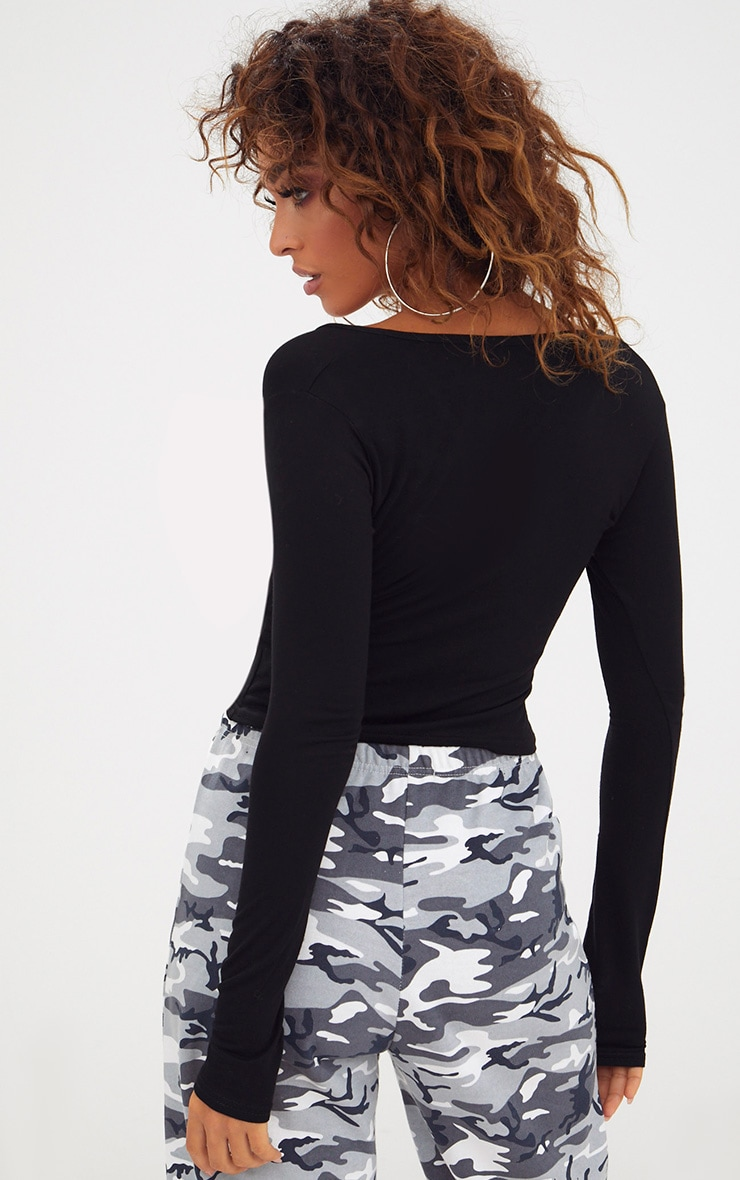 Black Wrap Front Longsleeve Crop Top  2