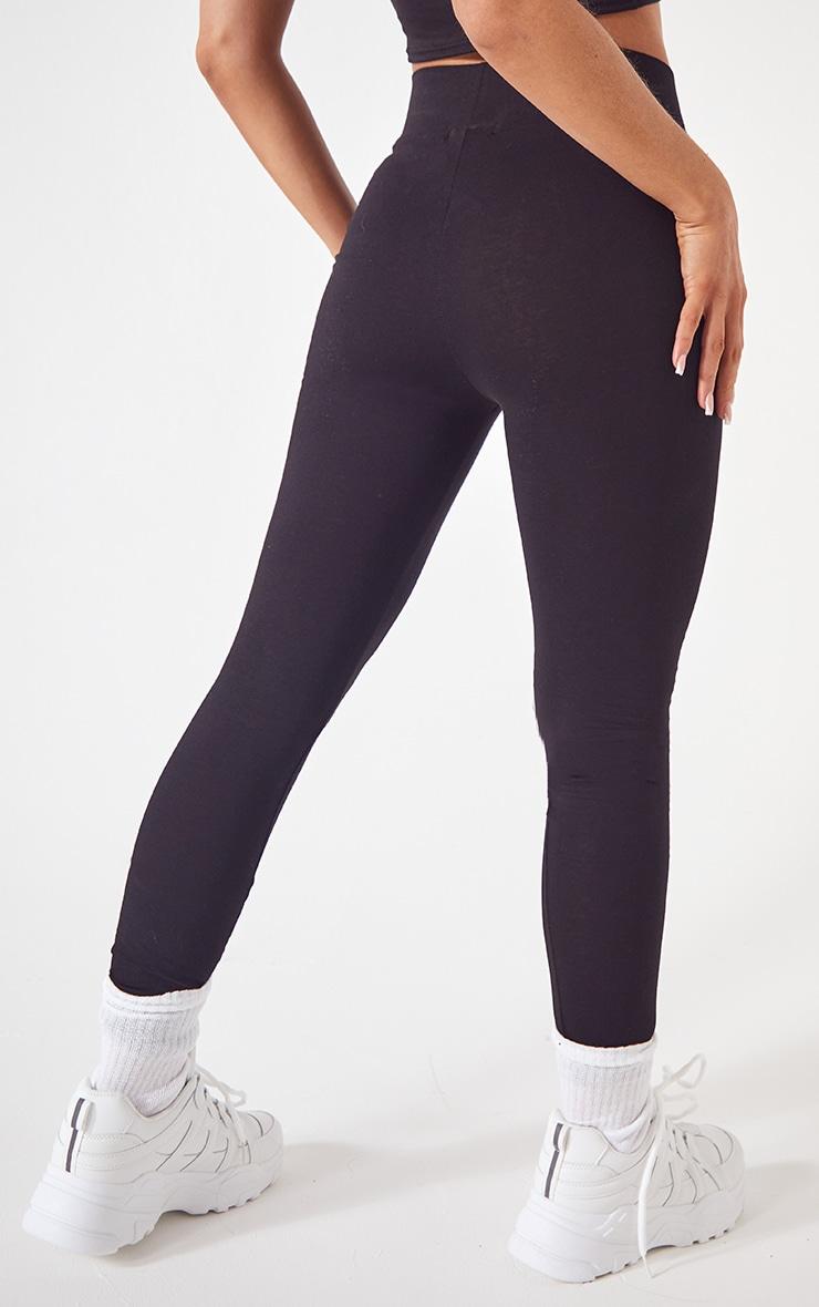 Basic Black Cotton Blend Jersey High Waisted Leggings 3