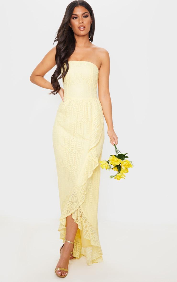 Lemon Lace Bandeau Frill Hem Maxi Dress 1