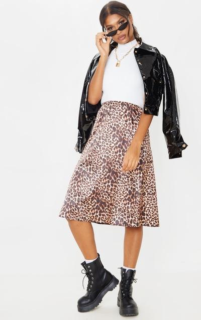 Satin Leopard Print Midi Skirt