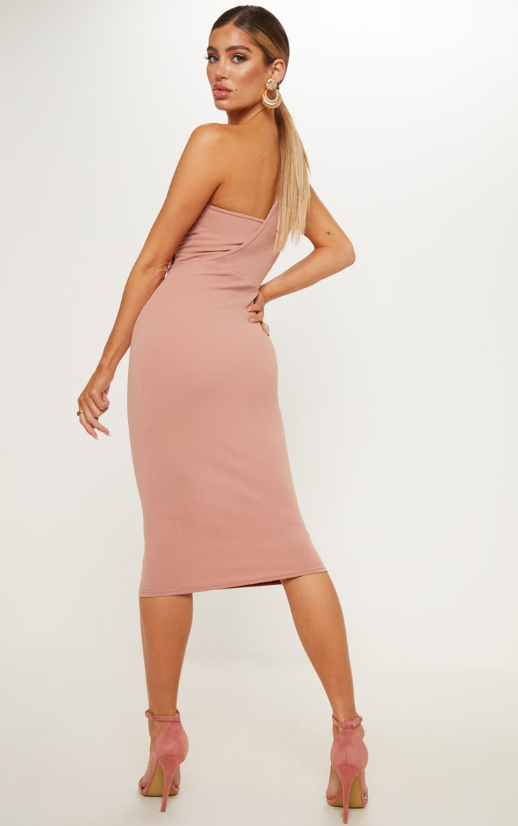 Dusty Pink One Shoulder Draped Midi Dress 2