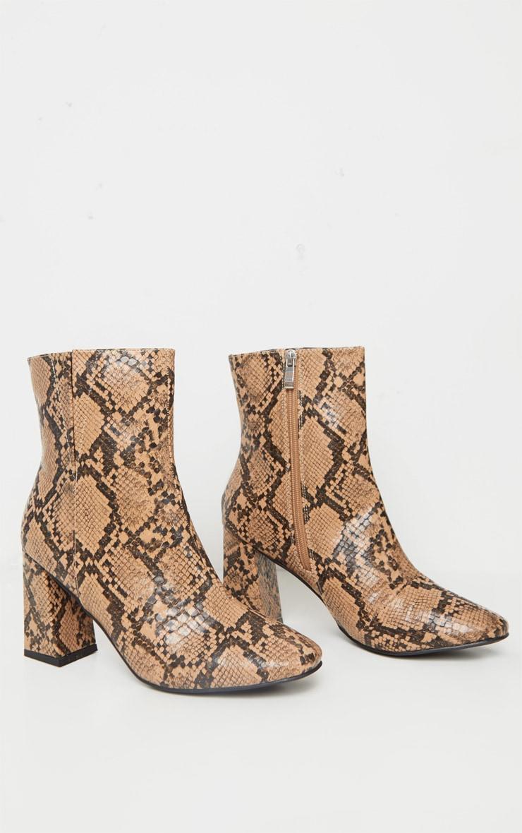 Brown Snake Round Toe Block Heel Ankle Boot 3