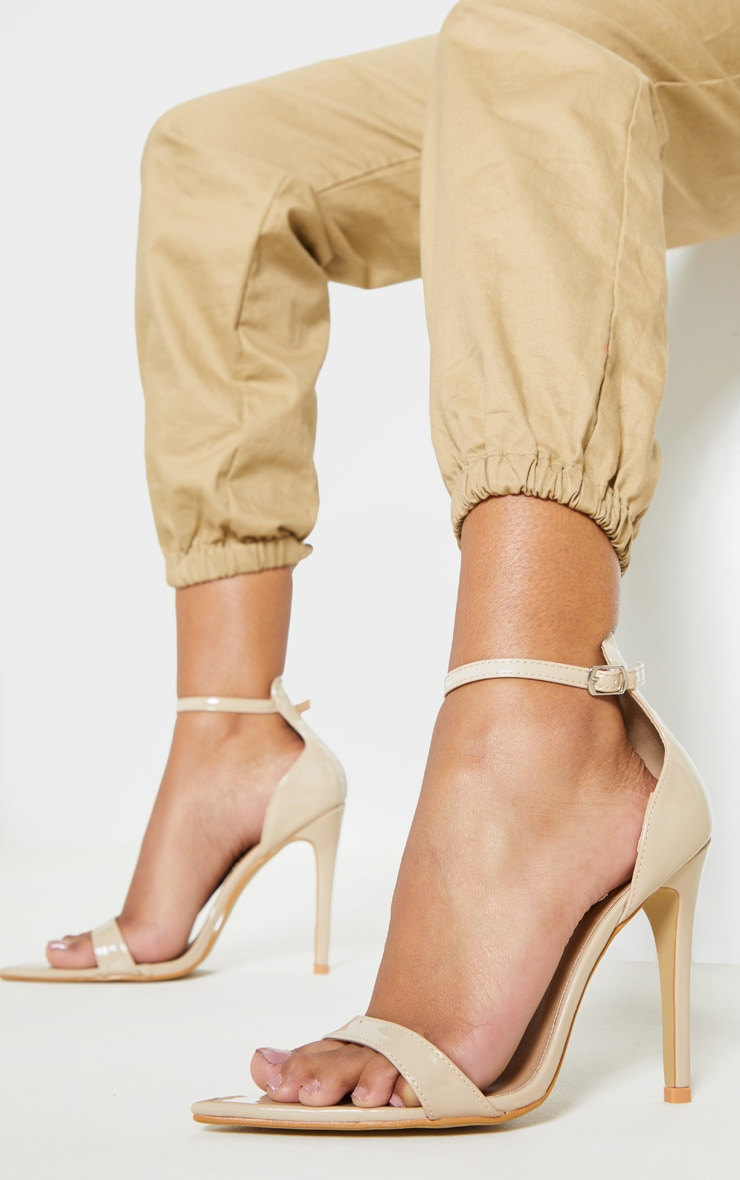Nude Patent Point Toe Strappy Sandal  1