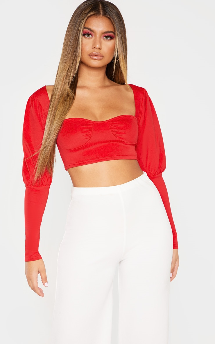 6bf04cd703b Red Cup Detail Long Sleeve Crop Top   PrettyLittleThing