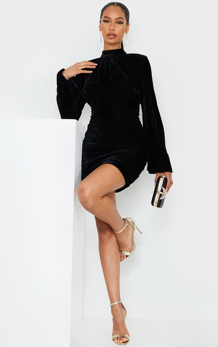 Black Velvet High Neck Ruched Balloon Sleeve Bodycon Dress 3